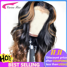 Human-Hair-Wigs Highlight Glueless-Wig Honey Blonde Lace-Front Remy Ombre-Color Preplucked