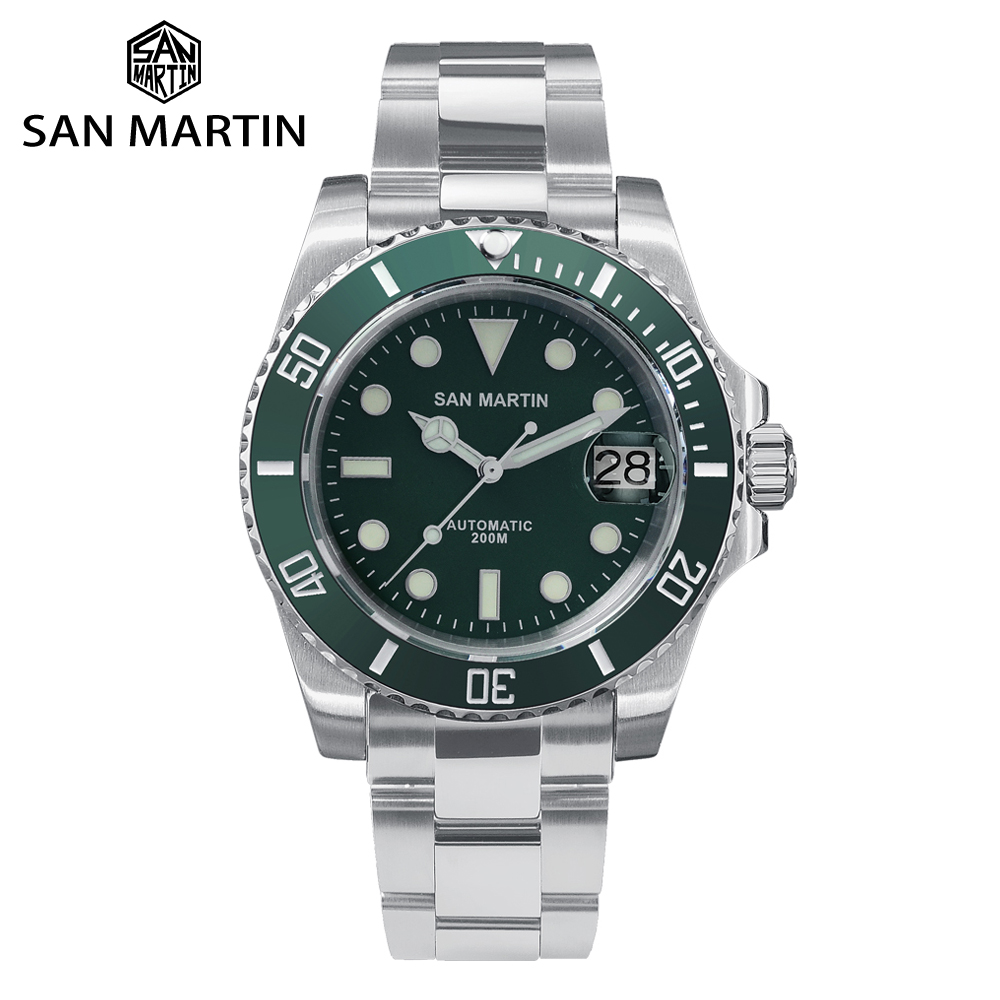 Ceramic Bezel Mechanical-Watches Diver Sapphire Crystal 20bar San Martin Water-Ghost title=
