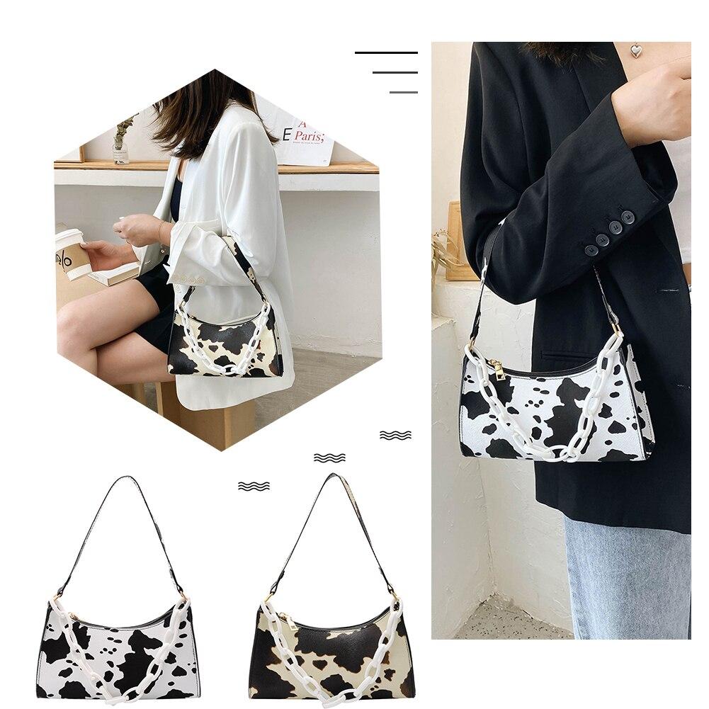 Cow Print PU Women Handbag Tote Acrylic Chain Street Underarm Shoulder Bag