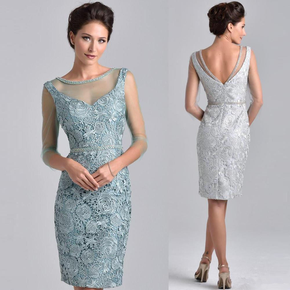 Dresses Wedding Mother-Of-The-Bride Plus-Size Sheath Beaded Lace Knee-Length Short Groom title=