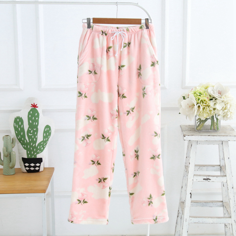 XIFER Winter Flannel Women Homewear Pants Pajamas Set Thick Warm Flannel Comfortable Homewear Fresh Long-sleeved Trousers Pajama