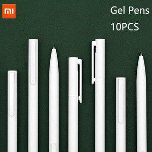 Оригинал Xiaomi Mijia 10 шт. гелевые ручки без крышки 0,5 мм ручка-пуля черный белый PREMEC гладкая Швейцария заправка MiKuni Япония чернила черный