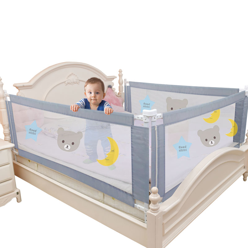 Children's bed barrier fence safety guardrail security foldable baby home playpen on bed fencing gate crib adjustable kids rails title=