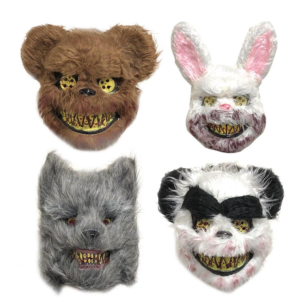 Scary Killer Teddy Bear Mask Furry Halloween Fancy Dress Costume Masque NEW