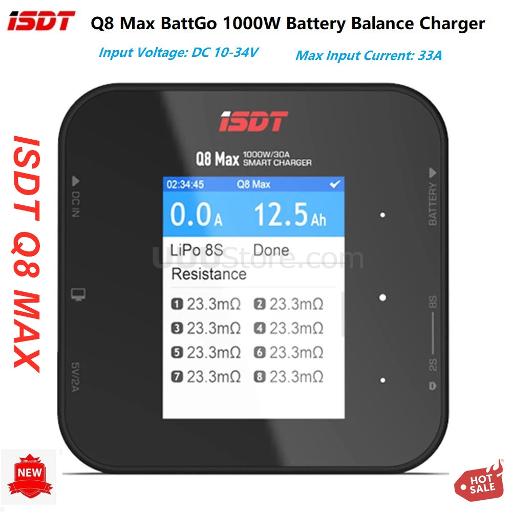 2020 New ISDT Q8 Max BattGo 1000W 30A High Power Battery Balance Charger Discharger for 1-8S Lipo Battery for RC FPV Drone