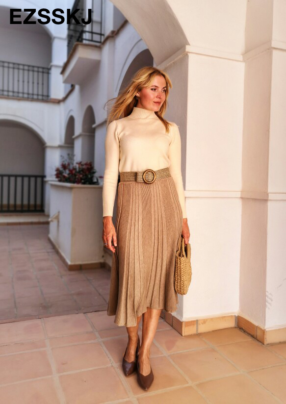 Vintage Winter Women thick sweater skirt Elastic High Waist Pleated Midi knitted Skirt A-line female solid elegant Skirts 2