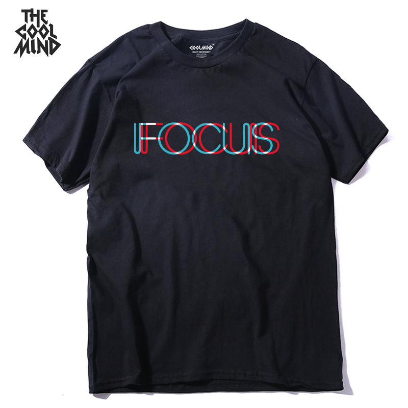 COOLMIND QI0231A 100% cotton short sleeve focus print funny men Tshirt casual o-neck loose summer T shirt for men tees pthd