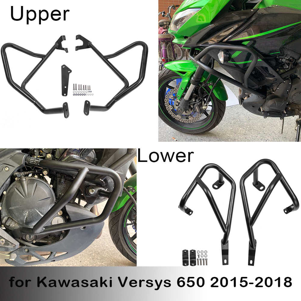 Versys-650 Parts Motorcycle Steel Highway Engine Upper Lower Guard Crash Bars Bumper Protector for 2015 2016 2017 2018 2019 2020 Kawasaki Versys 650 Versys650 Motorbike Accessories Lower Crash Bar