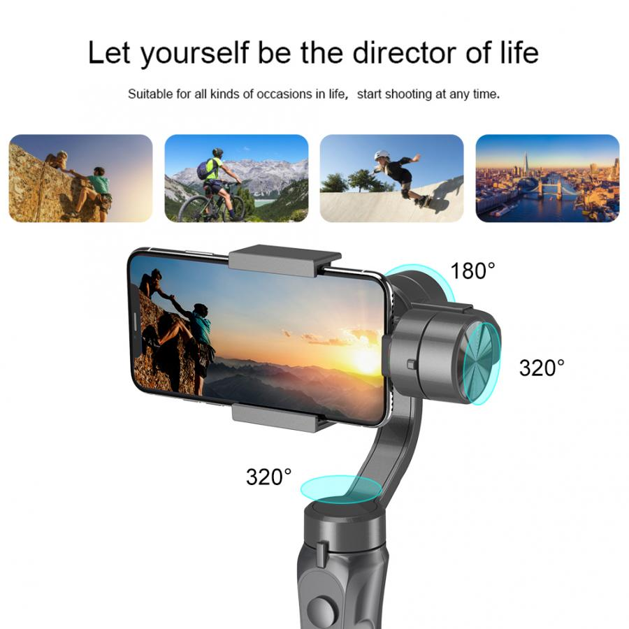 Akozon 3-Axis Gimbal Stabilizer for Phone H2 Handheld Ballhead Mobile Phone Intelligent Anti-shake Stabilizer for Outdoor Live