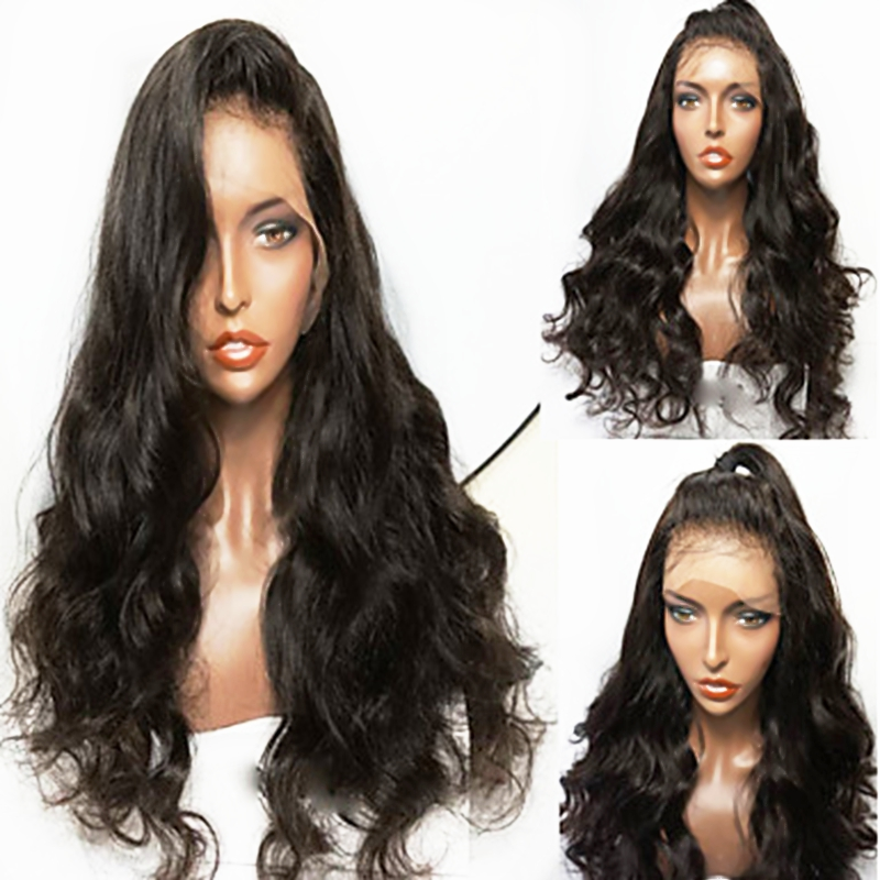 26 Inches Black Long Body Wave Hair Lace Front Synthetic Wigs for Women Heat Resistant Hair Full Density Wigs with Baby Hair