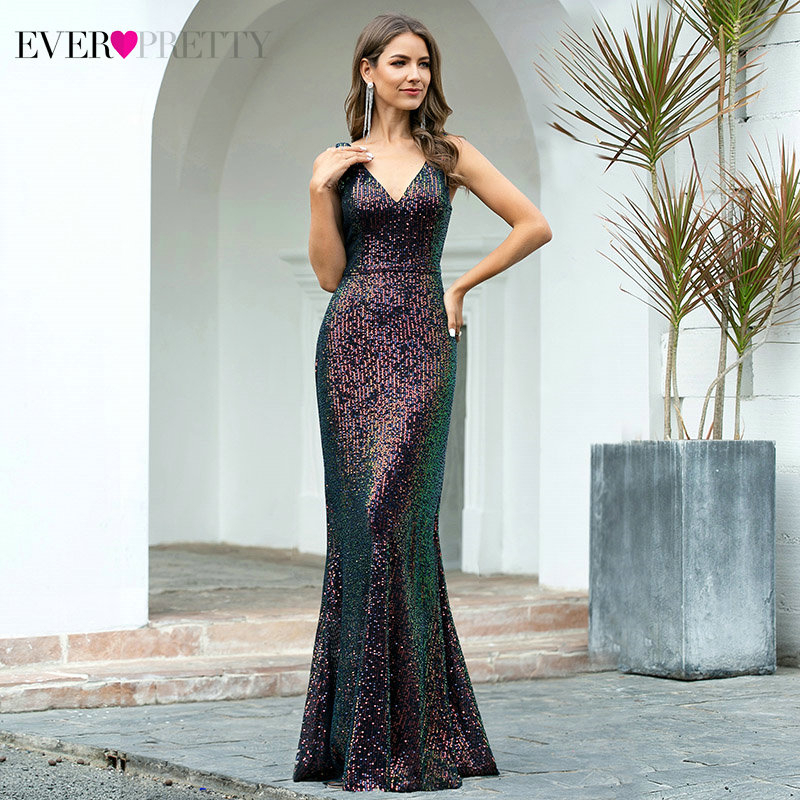 Sexy Evening Dresses Ever Pretty EP00510 Mermaid Double V-Neck Sleeveless Sequined Sparkle Formal Party Gowns Robe De Soiree