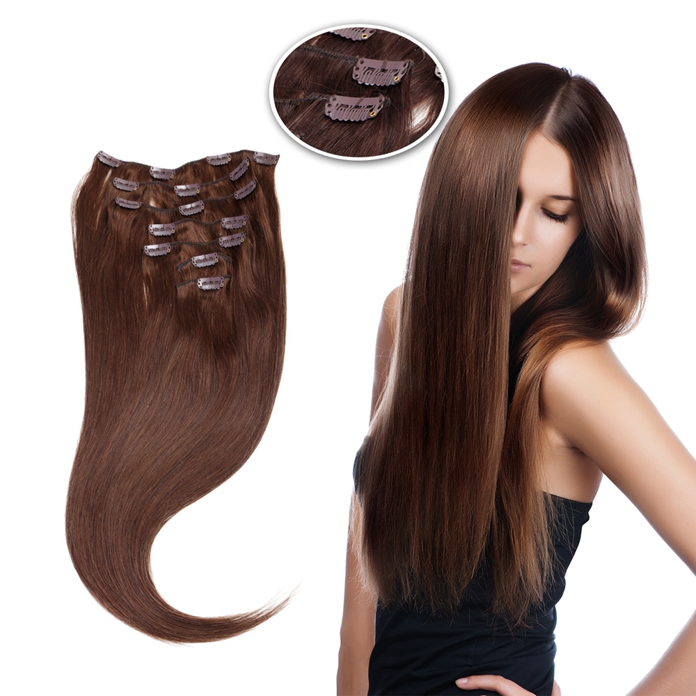 Vlasy Human-Hair-Extensions Remy-Hair Clip-In Straight Natural 100g Full-Head-Machine title=