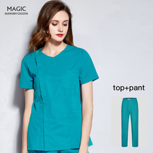Clothes-Suit Scrub-Set Lab-Coat Workwear Short-Sleeve V-Neck Beauty Salon Pet-Shop Health-Services