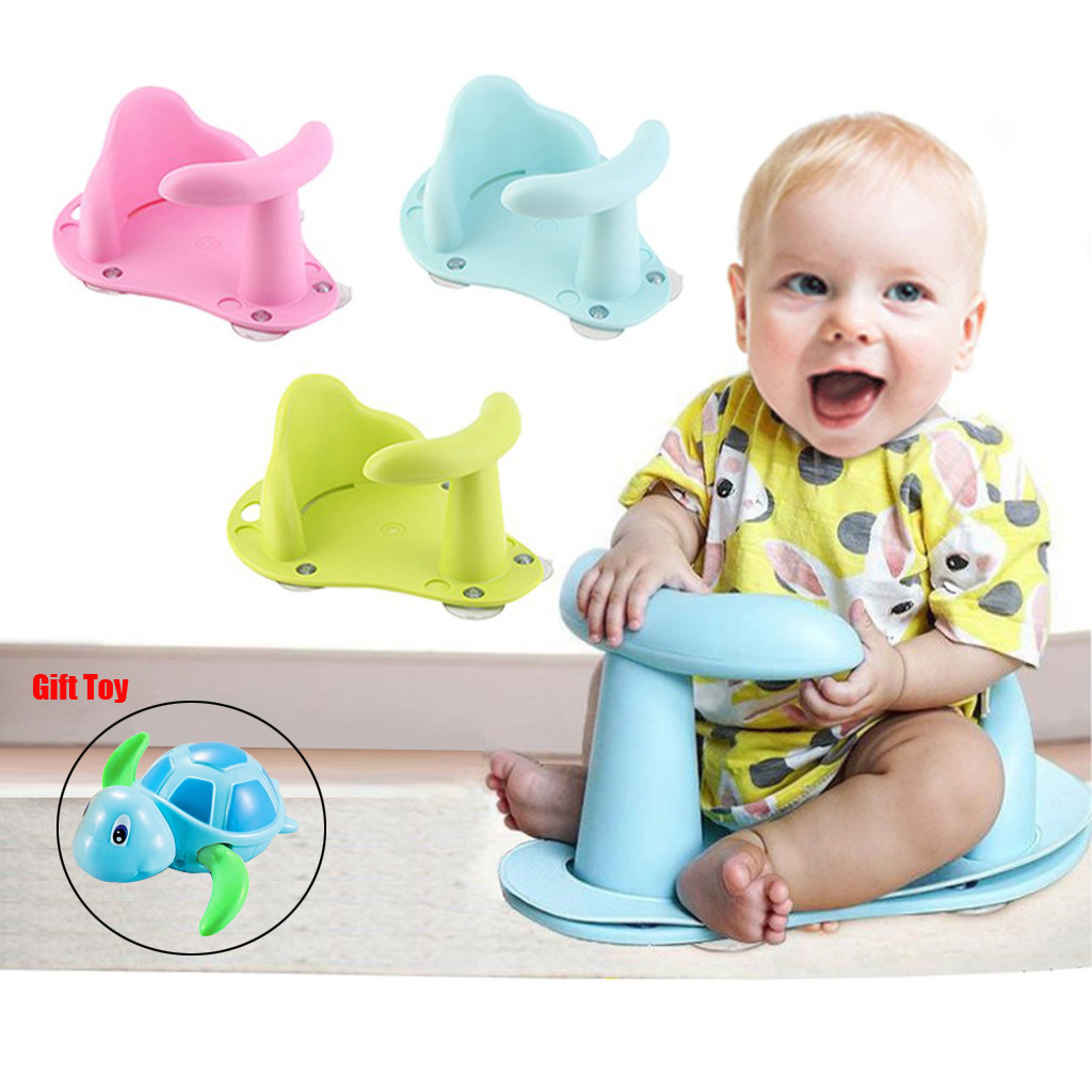 White Baby Bath Seat Support Safety Infant Chair Bathing Newborn Tub Ring with toy