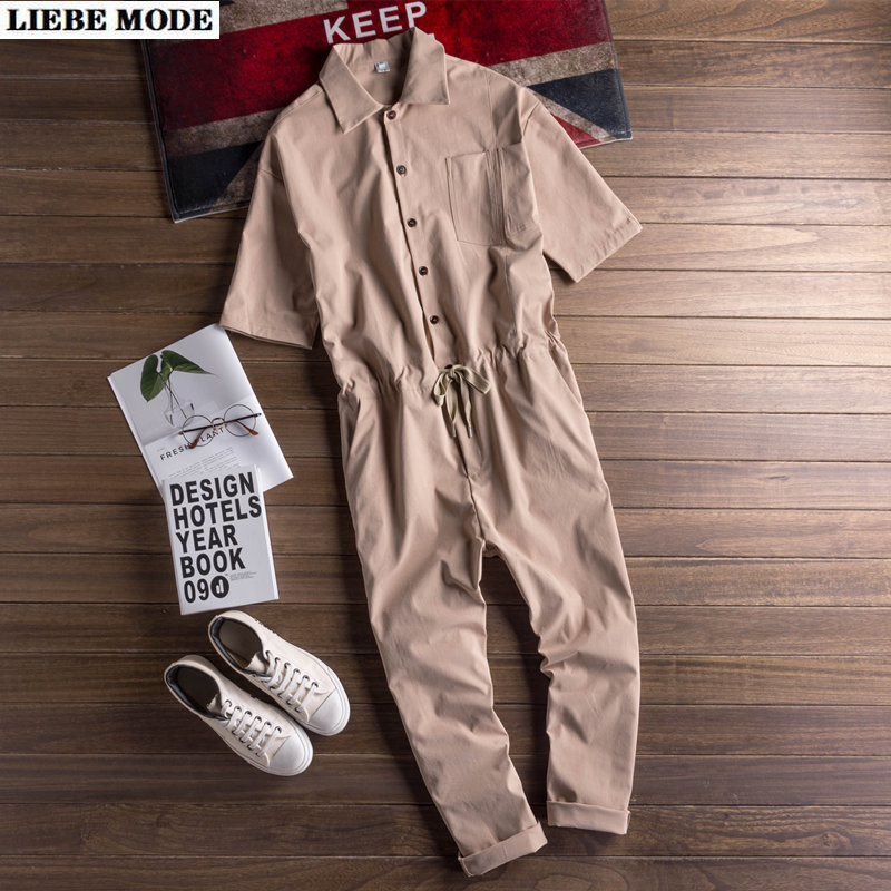 Japanstyle Mens Fashion Summer Overalls Black Khaki Green One Piece Jumpsuits Rompers Short Sleeve Cargo Pants Hip Hop Onesie