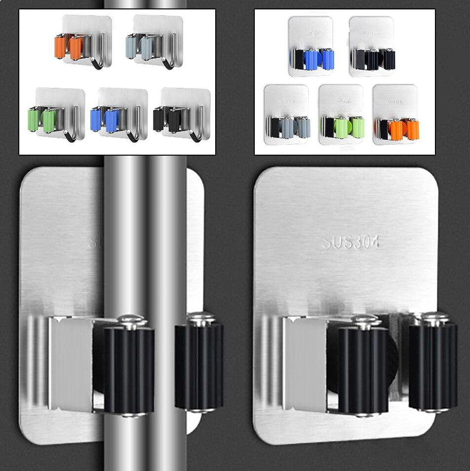 New Multifunctional Self-Adhesive Mop Rack Seamless Stickers Kitchen Brush Broom Rack Bathroom Wall Mounted Hooks