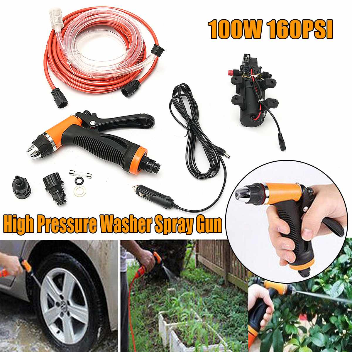 Wash-Washer Water-Gun Car-Cleaning Electric Garden Portable High-Pressure 100W 12V 145psi title=