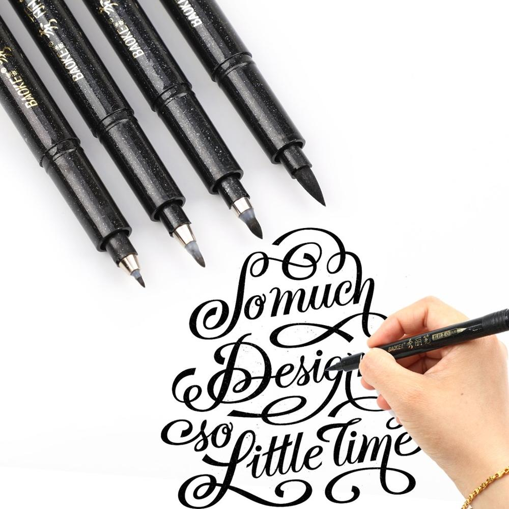 4pcs Creative Baoke Fine Medium Brush tip Calligraphy Pen Set Letter&Draw&Write&Signature&Illustration School Art Supply H6806