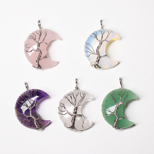 1PC Natural Crystal Pendant Tree Of Life Moon Shaped Quartz Healing Stone Jewelry Reiki Mineral DIY Women's Jewelry Gift