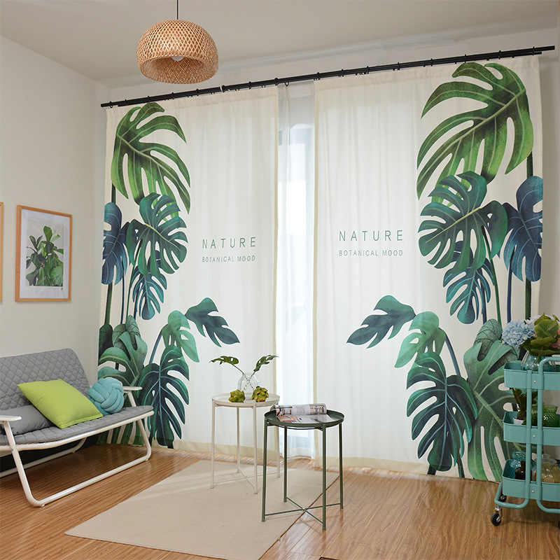 Modern Elegant Custom Green Plant Leaves Print Curtains Shade Thermal Insulated Window Decor for Living Room Bedroom Blackout
