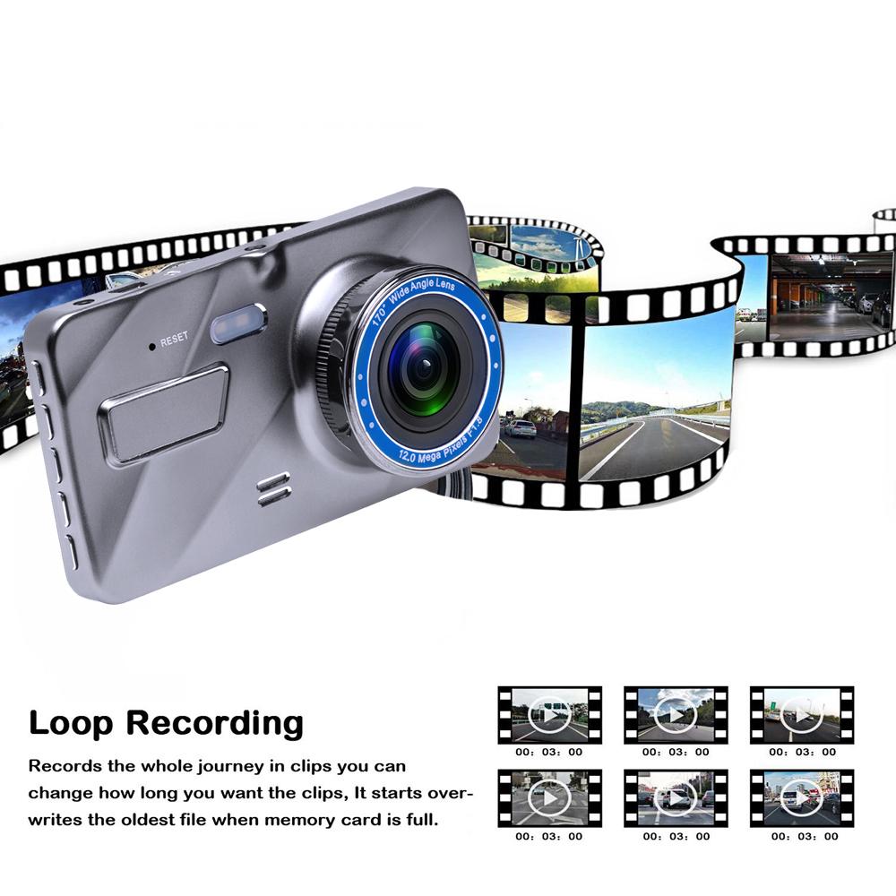 2Dash Cam New Dual Lens Car DVR Camera Full HD 1080P 4 IPS Front+Rear Mirror Night Vision Video Recorder Parking Monitor