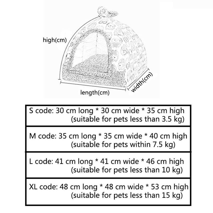 Text - Cat House Foldable Lovely Printing Warm Cozy for Cats Dogs Nest Collapsible Cat Cave Cute Sleeping Mats Winter Pet Products