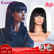 Bob Wig Bangs Short Remy-Hair Lace-Front Pre-Plucked 150%Density with 13x4 10--16-middle-Ratio