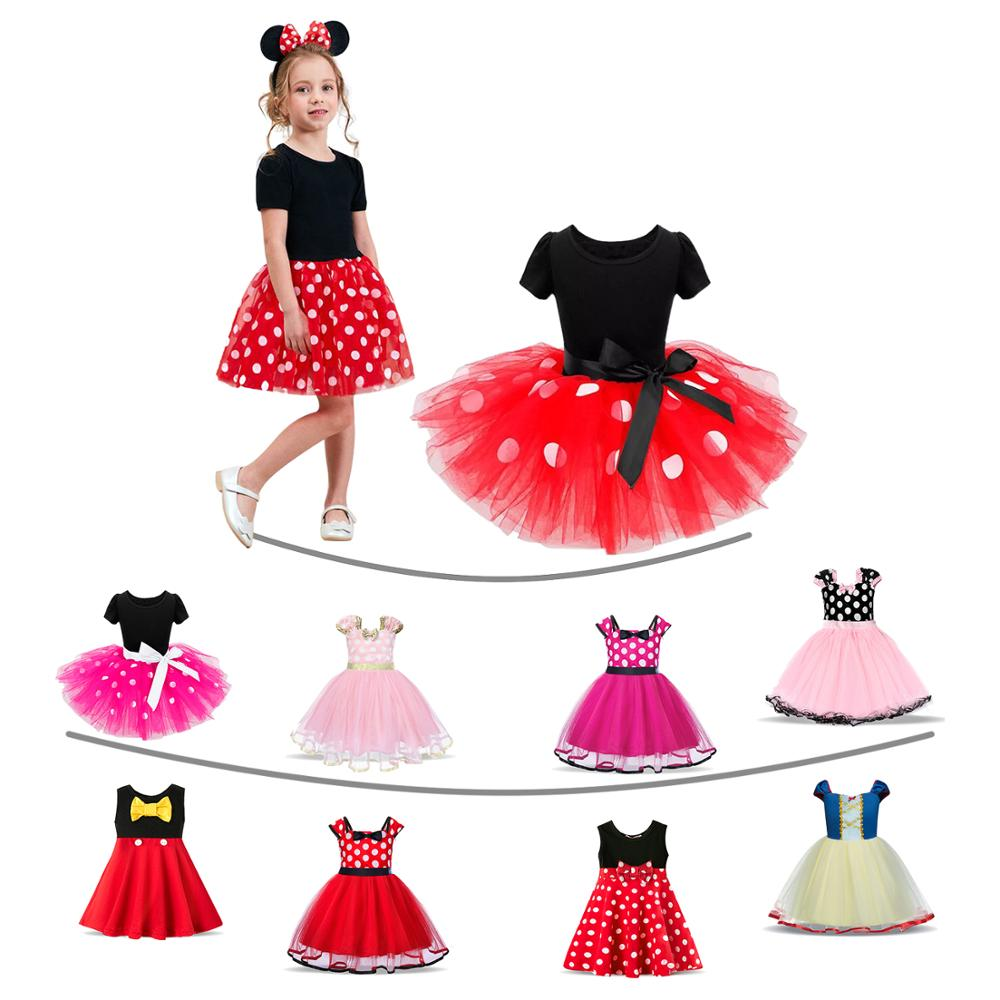 Kids Girls Polka Dots Dress Princess Outfit Halloween Birthday Party Costume