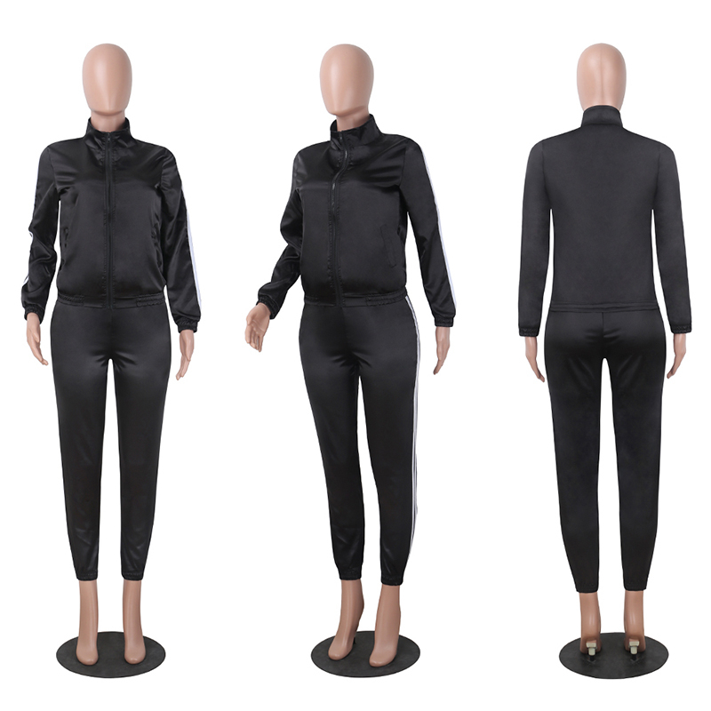 Spring 2020 Women Satin Two Pieces Set Tracksuit for Women Elegant Pants and Top Set Casual Sweatshirt Suits Fitness Outfits