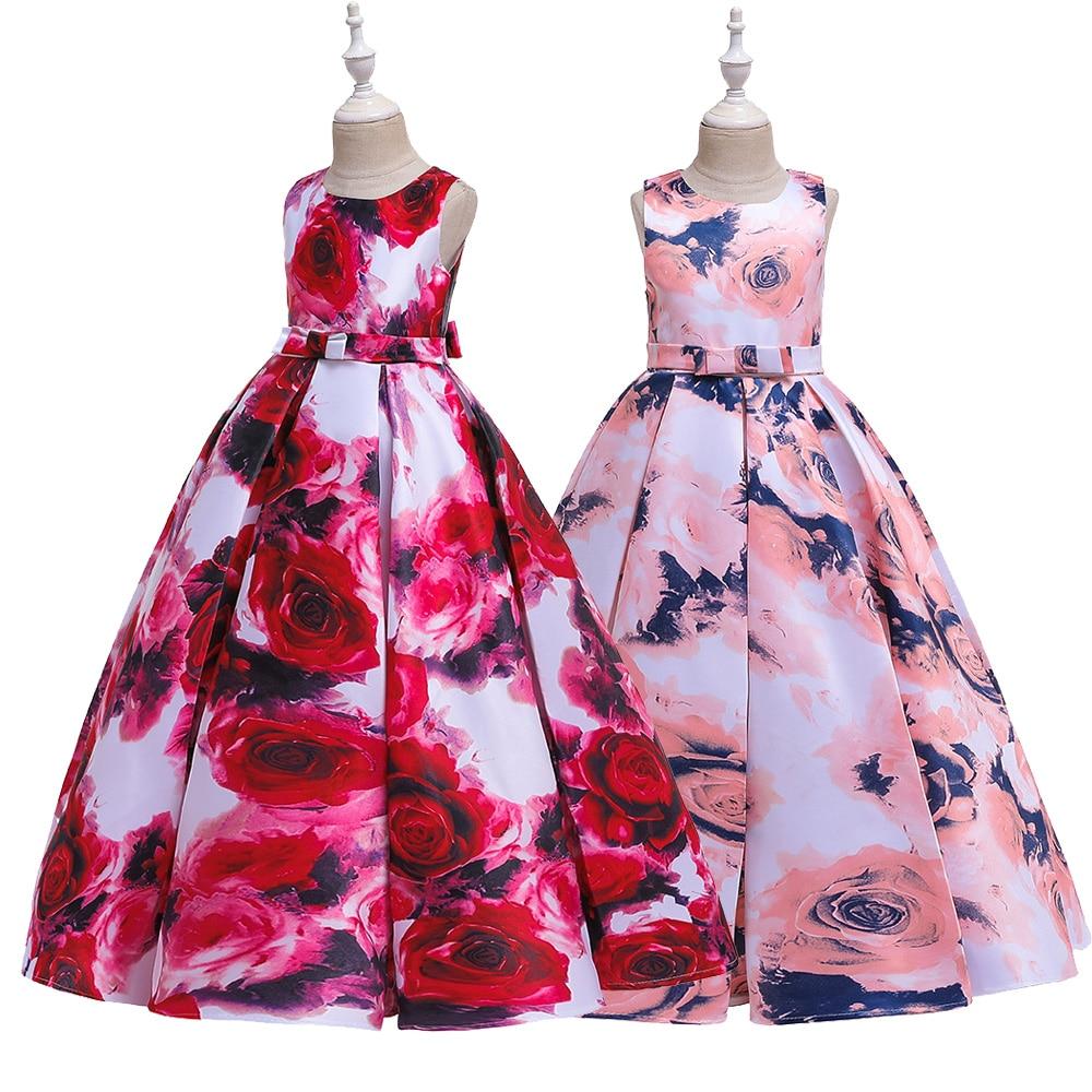 Retro Rose Printed Flower Girl Dress Princess Formal Birthday Wedding Bridesmaid