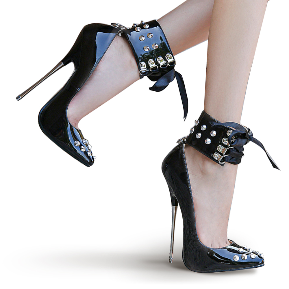16cm Extreme High Heels Studded Rivet Fetish Ladies Shoes Patent Leather Models Show Work Women Pumps Ankle Strap Large Size 46