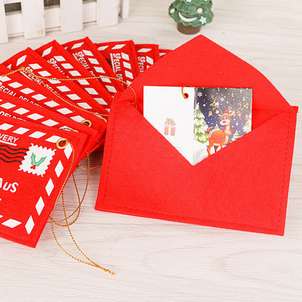 1PC Fabric Christmas Santa Claus Envelope Small Red Print Bag Office School Home Desk Decoration Supplies Creative New Year Gift