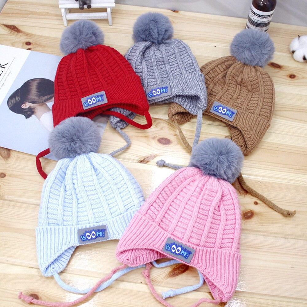 Baby hat winter knitted hat Korean fur ball baby earmuffs  Soft Newborn baby Boys Girls Toddler Cotton Hats