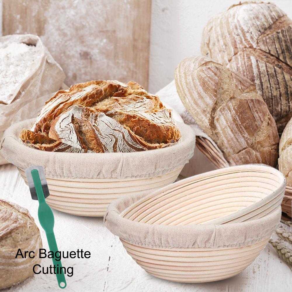 Hold 750g Dough 2pcs 28 x 14 x 8 cm Natural Rattan Sourdough Proving Basket Set with Cloth Liner Gifort Oval Banneton Bread Proofing Basket Dough Scraper and Bread Lame