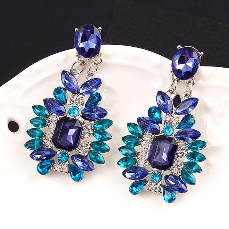Summer Bohemian Colorful Crystal Dangle Earrings Jewelry Big Drop Earrings Fashion Statement Accessories For Women Girl