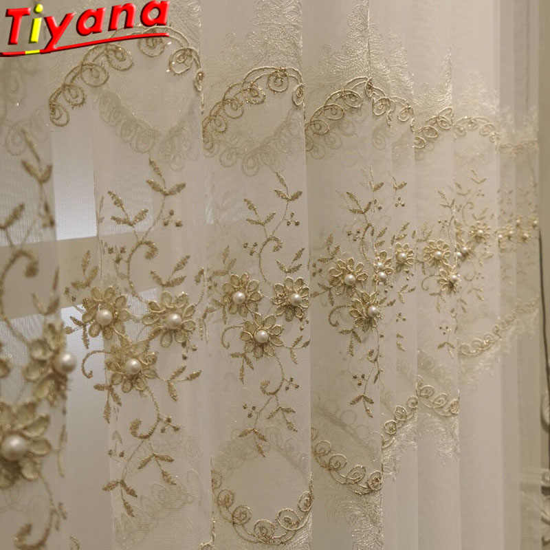 Pearl Embroidered Garden White Embroidered Tulle Curtains for Living Room Lace Window Screening Items Window Drapes WH059#40