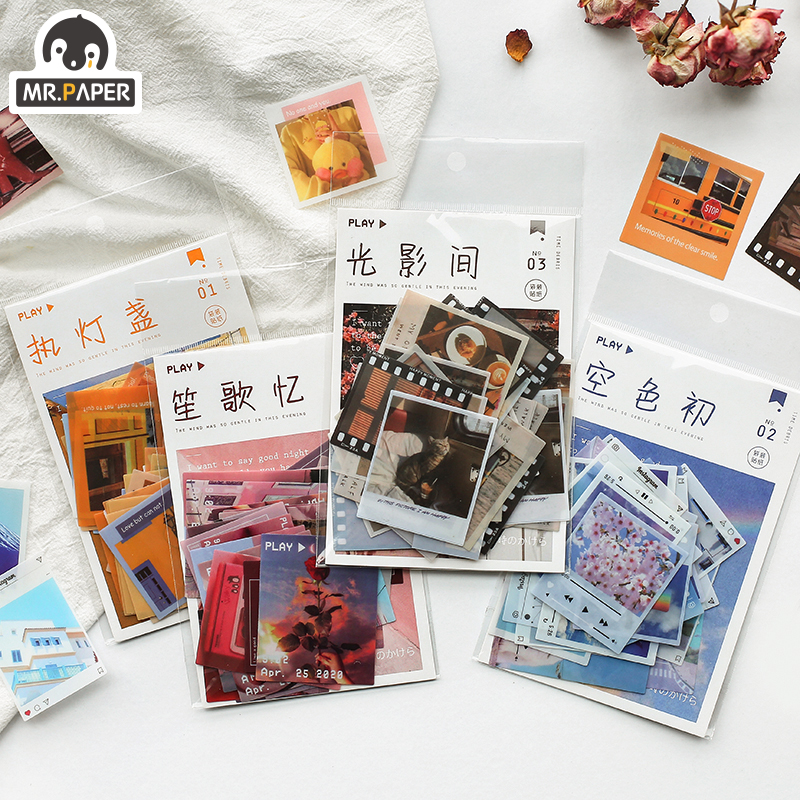 Mr.paper 4 Designs 40Pcs/lot Memory beauty Time Shard Retro Vintage Valentine Stickers Scrapbooking Bullet Journal Deco Stickers