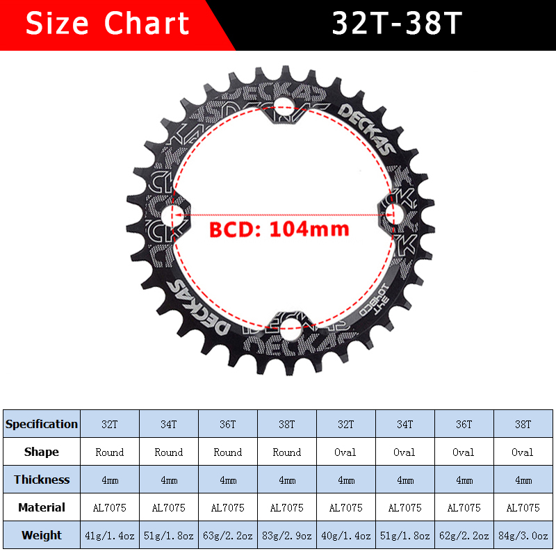 DECKAS MTB Bike Bicycle Round Oval Chainring Chain Ring BCD104mm 32T~38T Premium