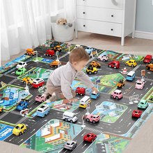 Baby Play Mat Road Map for Kids Cartoon Plastic Thin Traffic Rug Little Boys Girls Toys