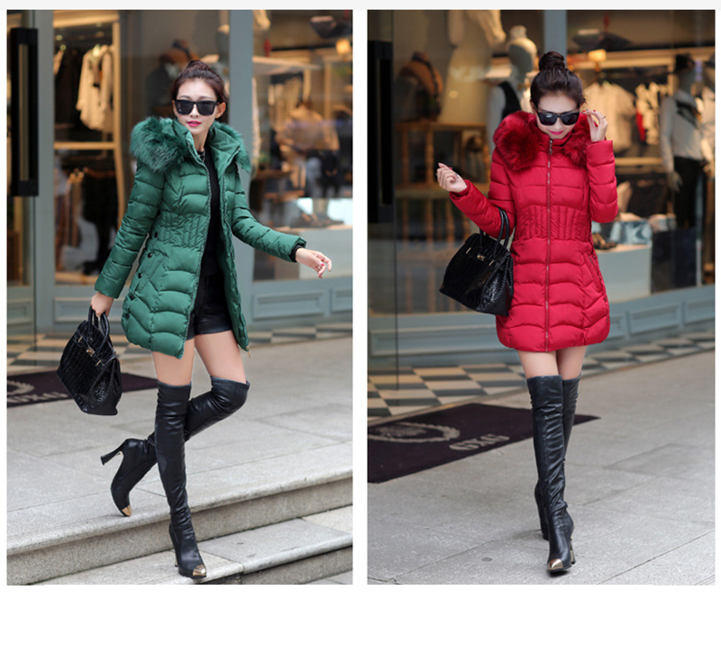 Winter Long Women Coats Parkas Slim Pleated Black Female Coat Outwear Fashion Disassembled Hooded Cotton Women Jackets MLD1271 27