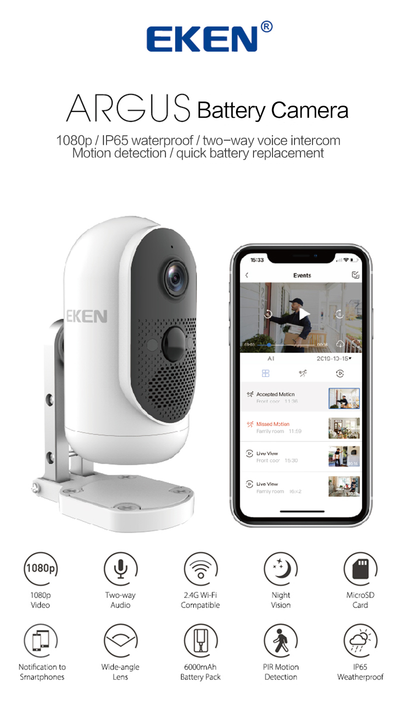 IP65 Waterproof 2-Way Audio Wireless Security Camera Outdoor XTU Rechargeable Battery Powered Camera 9600mAh 1080P WiFi Surveillance Camera PIR Motion Detection Cloud//SD Storage Night Vision
