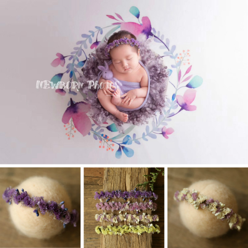 Newborn Photography Props Baby Headwear Flower Headband Infant Shoot Accessories Studio Creative Hair Band Sweet Headdress