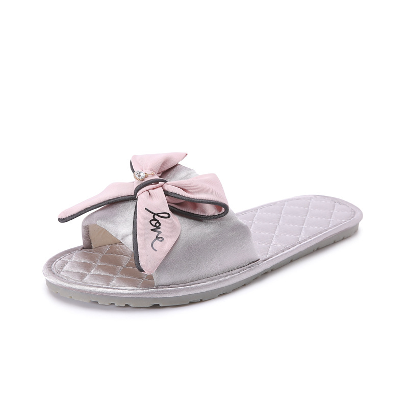 Women Silk Slippers Flat Heel Platform Slides Cute Casual Peep Toe Butterfly Knot Female Ladies Indoor Shoes Zapatos De Mujer