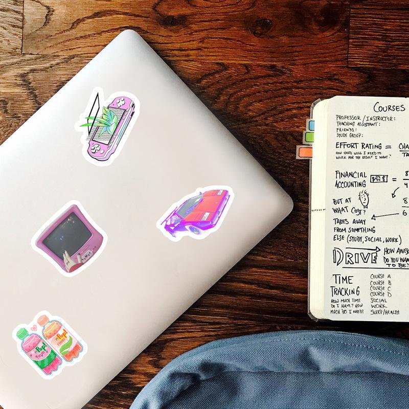 50pcs pack Art Style Vaporwave Sticker For Laptop Computer Skateboard Luggage