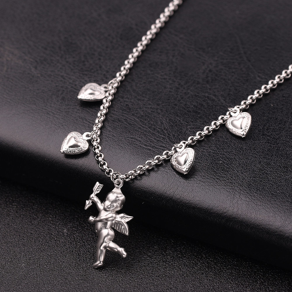Fashion Love Confession Cupid Bow Arrow Pendant Necklace Jewelry for Men Women