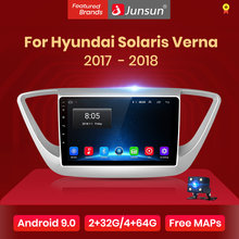 Junsun V1 2G + 32G Android 8,1 4G Автомобильный радио мультимедиа аудио плеер GPS навигация для Hyundai Solaris 2 Verna 2017 2018 no 2 din(China)