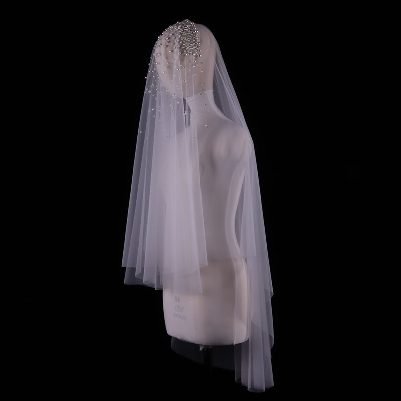 Hot Sale Ivory Bridal Veil One Layer  Royal Pearl Beaded Wedding Veil Veu de Noi without comb