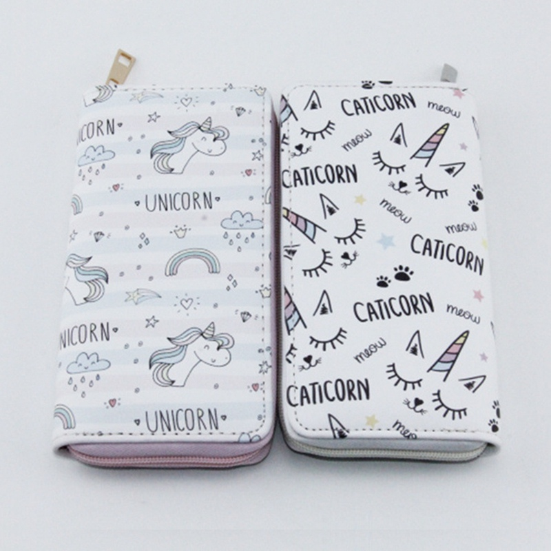 Female Long Section Women Wallet Cute Cartoon Unicorn Zipper Students Trend Wallet Coin Purse