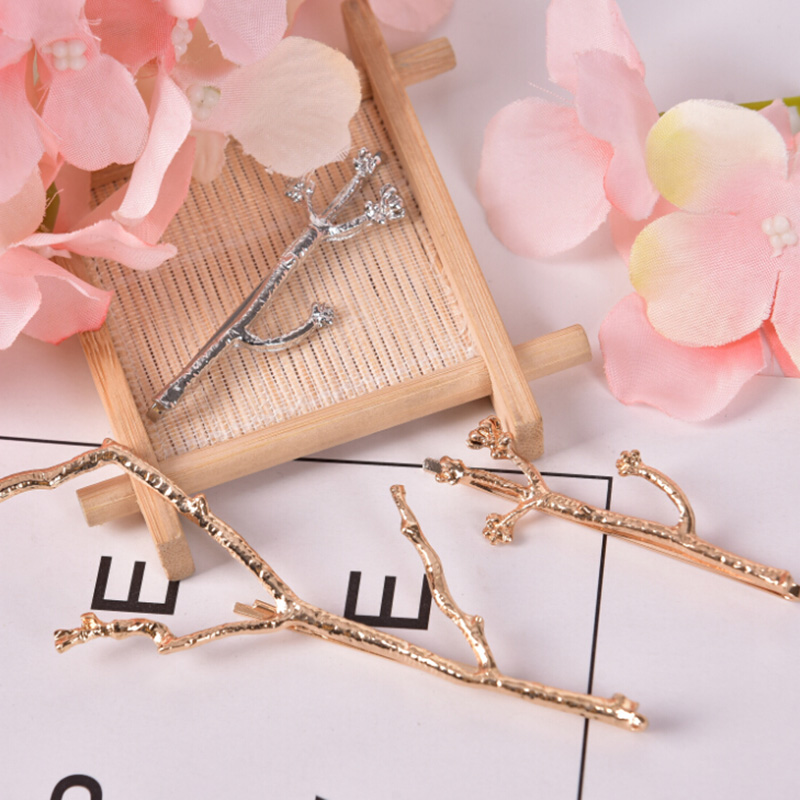 NEW Gold/Silver Branch Hairpin Hair Clip Women Vintage Brief Style Polish Hair Jewelry Wedding Bridal Hair Accessories