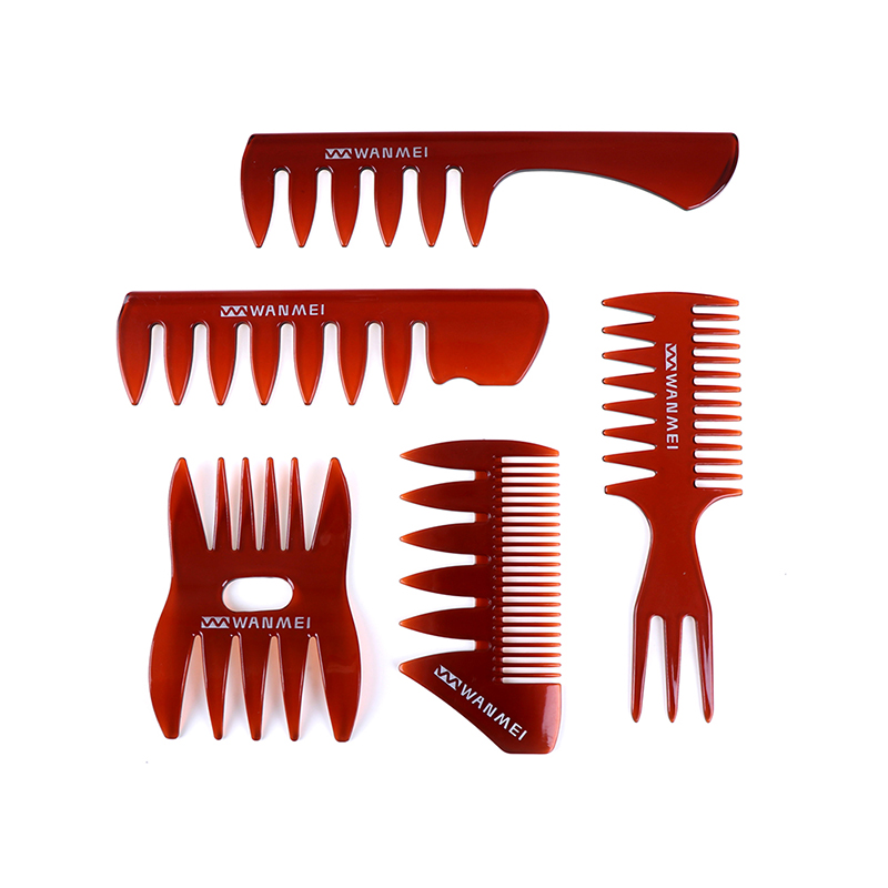 Oil Comb Men Hairdressing Wide Teeth Comb Handle Grip Large Tooth Detangling Curly Hair Comb Back Head Styling Beard